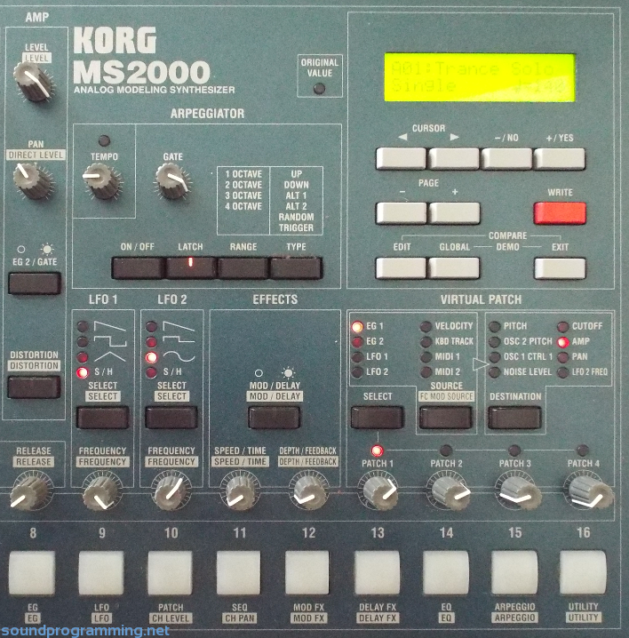 Korg MS2000 Panel Right Side